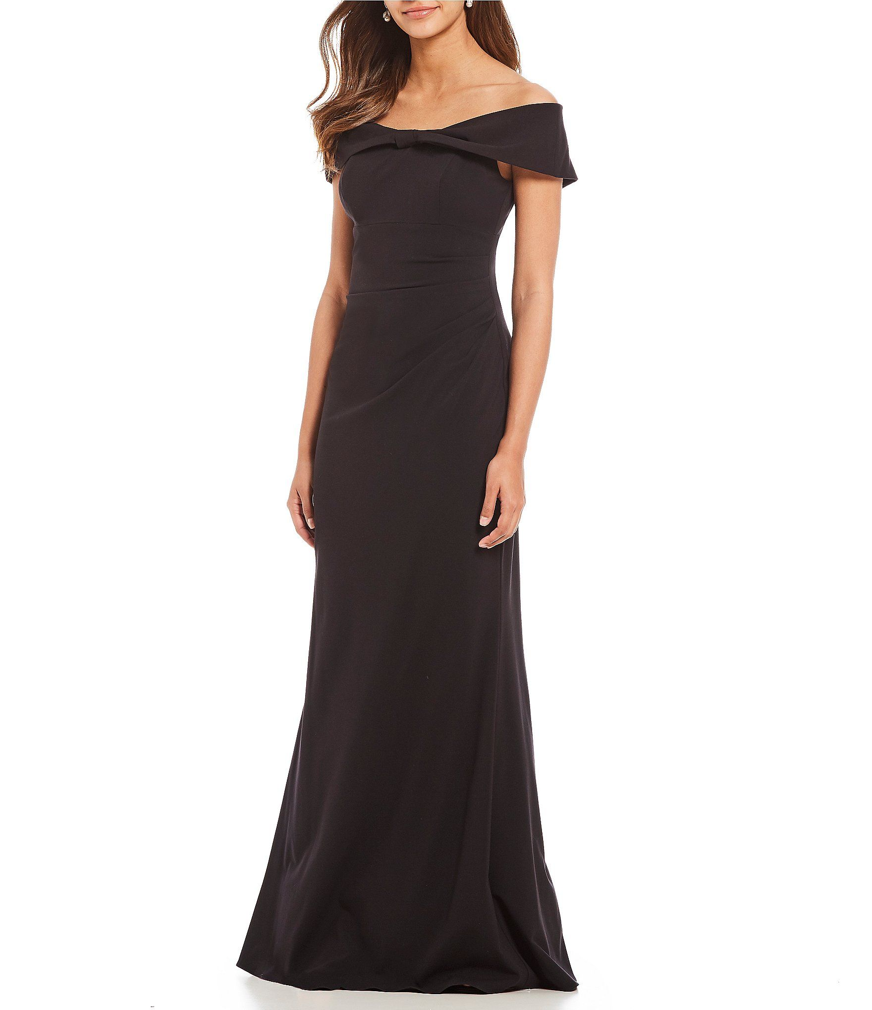 Eliza J Off The Shoulder Bow Front Gown in