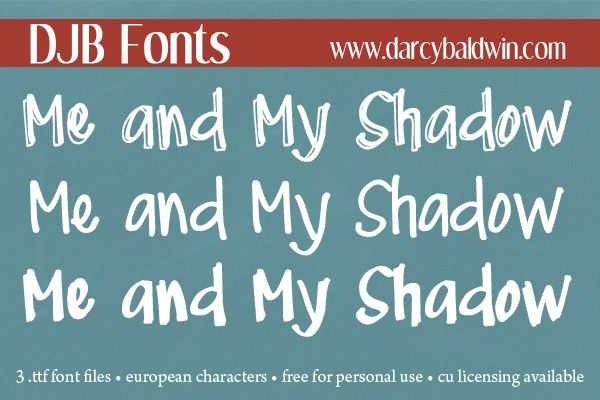NEW FONT: Me and My Shadows Font Family - Darcy Baldwin Fonts
