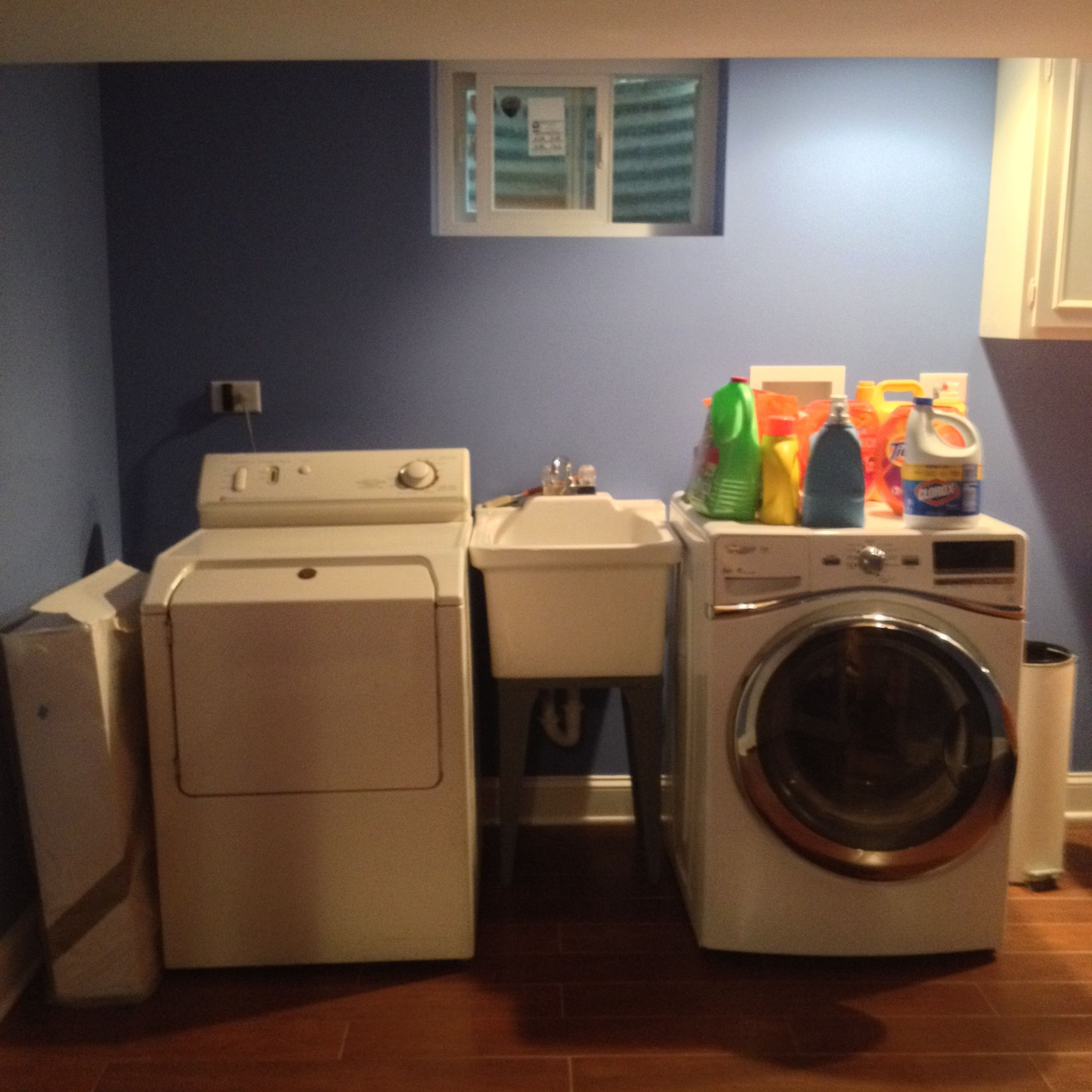 Laundry in the basement.  No more doing laundry in the kitchen.
