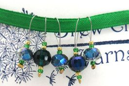 Emerald Shadows Stitch Markers - Snag Free - Gift for Knitter $7