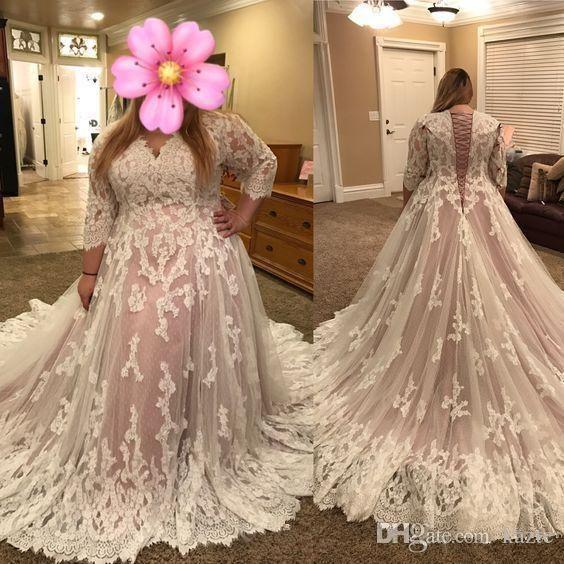 A Line Scoop Neck Long Sleeve Tulle Lace Plus Size Wedding Dress Corset Back Chapel Train