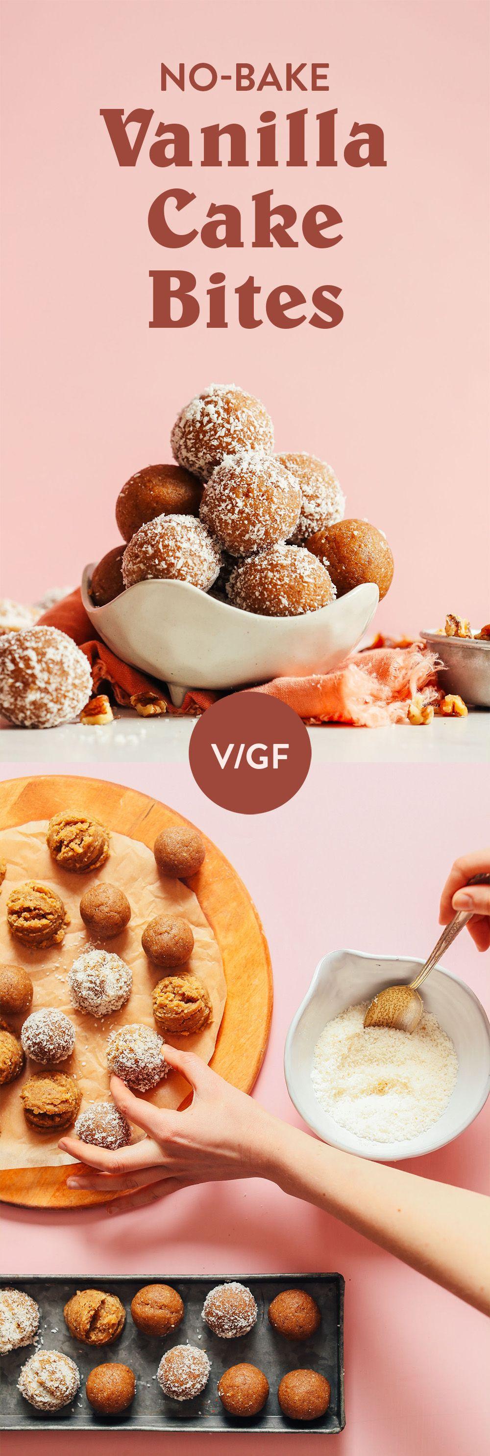 No Bake Vanilla Cake Bites Minimalist Baker Recipes Recipe Cake Bites Vegan Desserts Baker Recipes