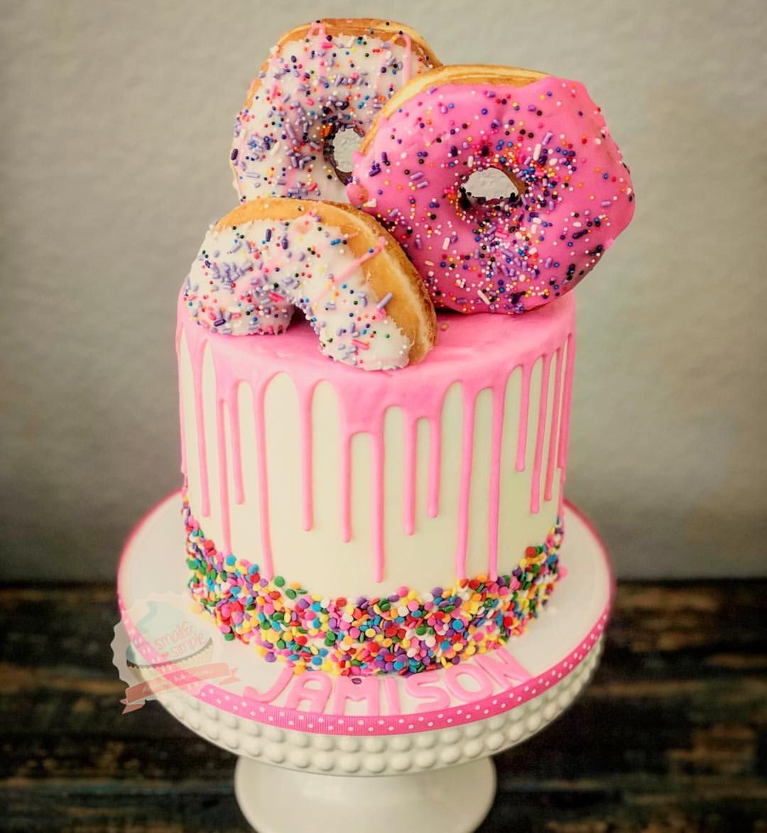 Fabulous Donut Cake With Matching Cupcakes Smallandsimpleconfections Personalised Birthday Cards Rectzonderlifede
