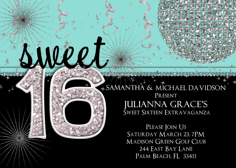 Sweet 16 Tiffany Parties Sweet 16 Birthday Invitation