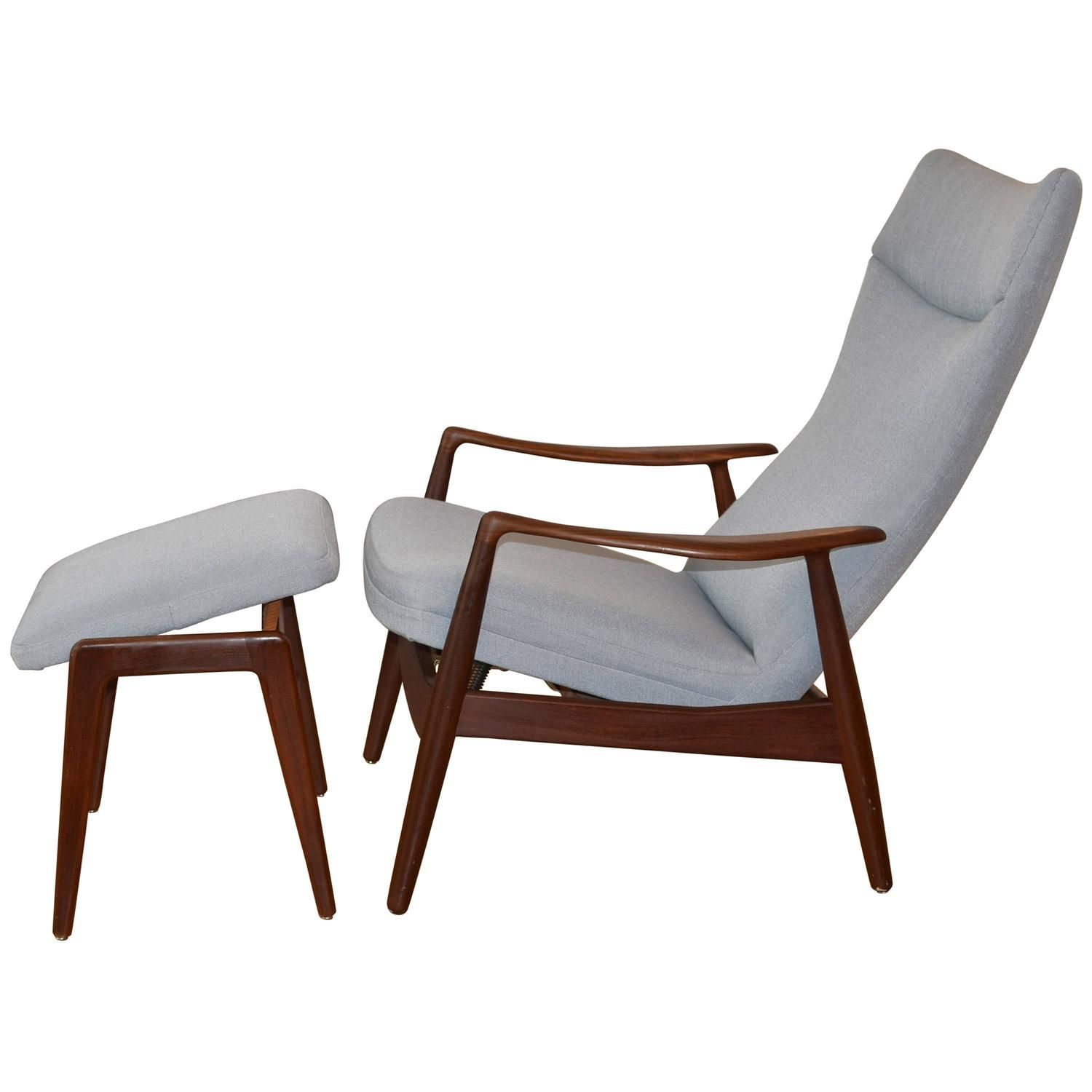 Danish Mid Century High Back Reclining Lounge Chair And Ottoman Soren Ladefoged Vintage Lounge Chair Furniture Chair And Ottoman