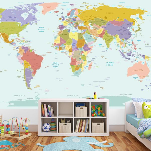 World map wallpaper mural world map poster for kids room for Childrens mural wallpaper