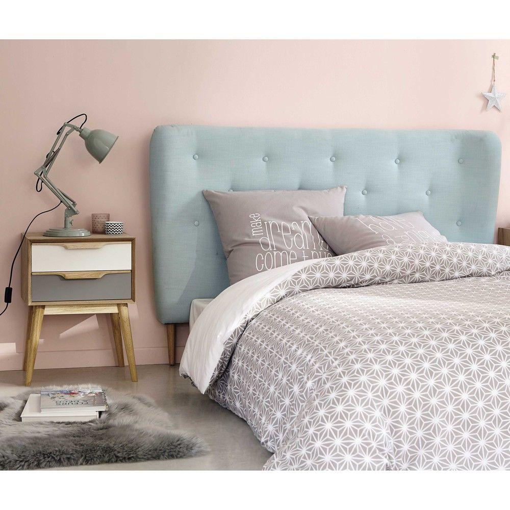 t te de lit 160 capitonn e en tissu bleu turquoise iceberg maisons du monde chambre lit. Black Bedroom Furniture Sets. Home Design Ideas