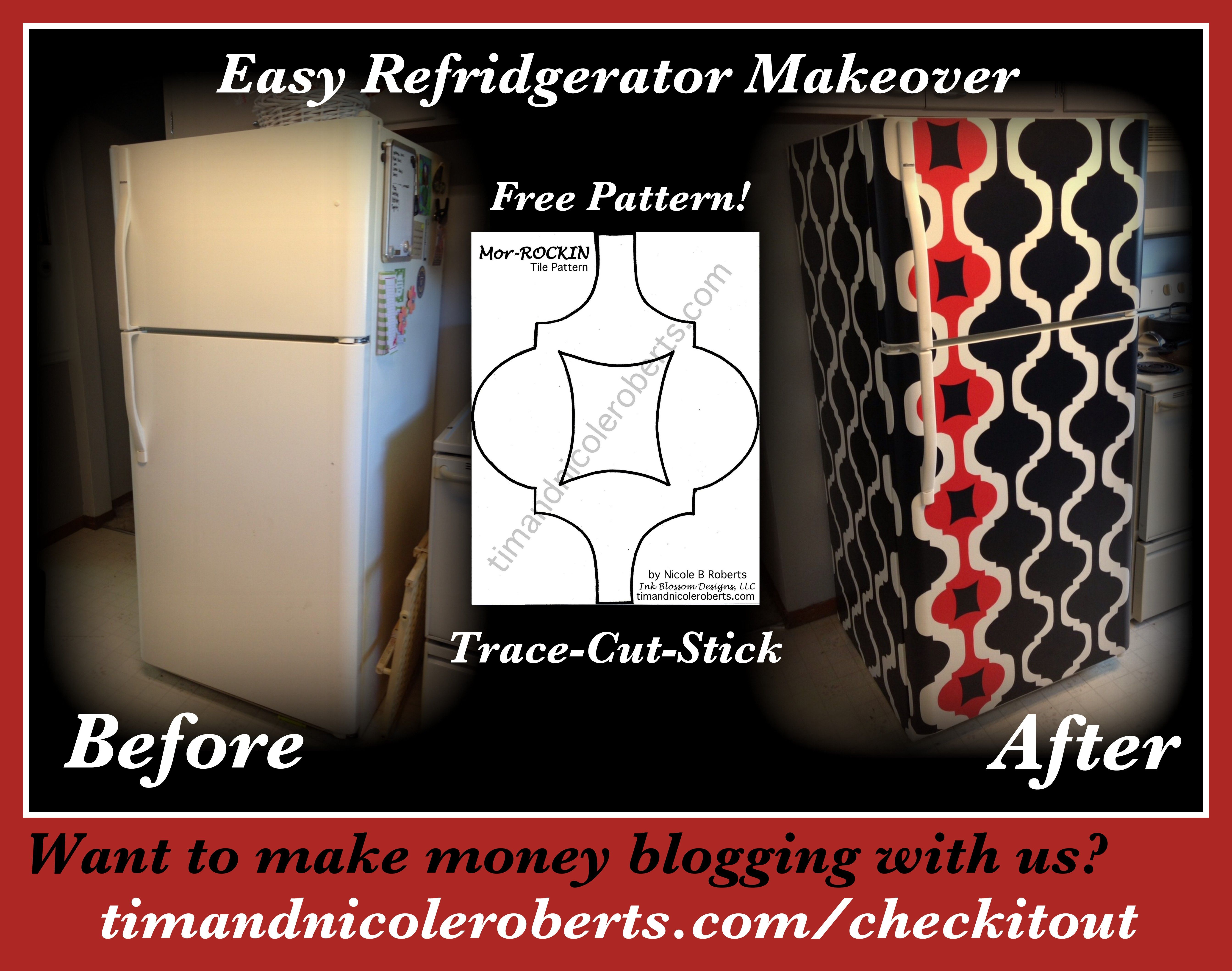 DIY temporary refrigerator makeover with contact paper and this ...