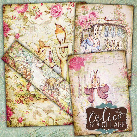 Peter Rabbit, Collage Sheet, Printable Ephemera, Decoupage