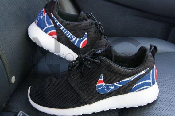 8b5dea35c569c Chicago Cubs 16  Nike Roshe One Run Black Custom Men