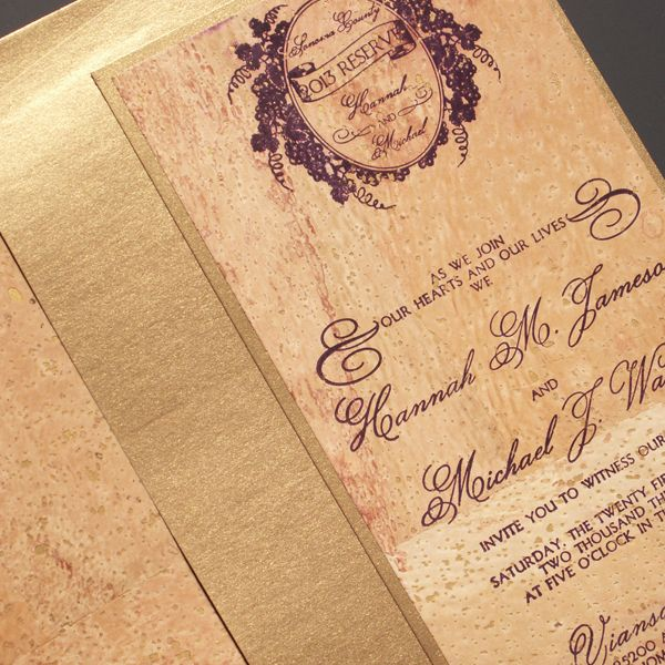 Cork Wine Themed Letterpress Wedding Invitation From The Plum