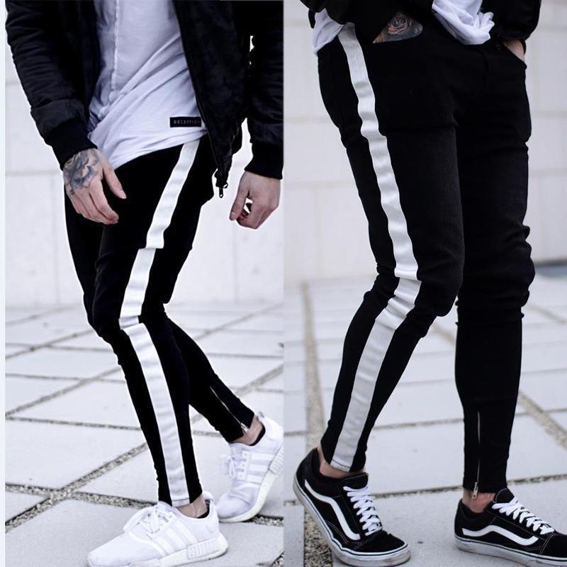 US Men Skinny Jeans Black Slim Fit Casual Pants Stretchy Rip Long Denim Trousers