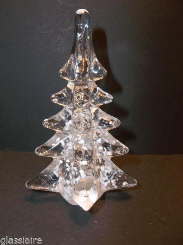 "Vintage Art Glass Christmas Tree CRYSTAL CLEAR White Snow MINIATURE 4.25"""