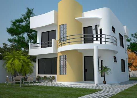 Casa con terminaci n irregular fachada con media luna for Garajes modernos interiores