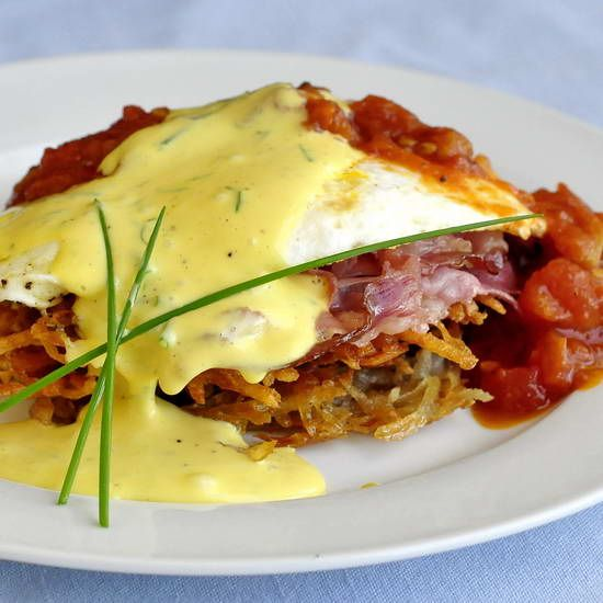 I love Eggs Benedict…like really love it. Being such a big brunch person, I can't resist it on restaurant menus and often make variations of it at home, like our now famous Toutons Benedict. One of the things we often serve at our brunches, in place of hash browns are thin, crispy potato latkes. Spouse …