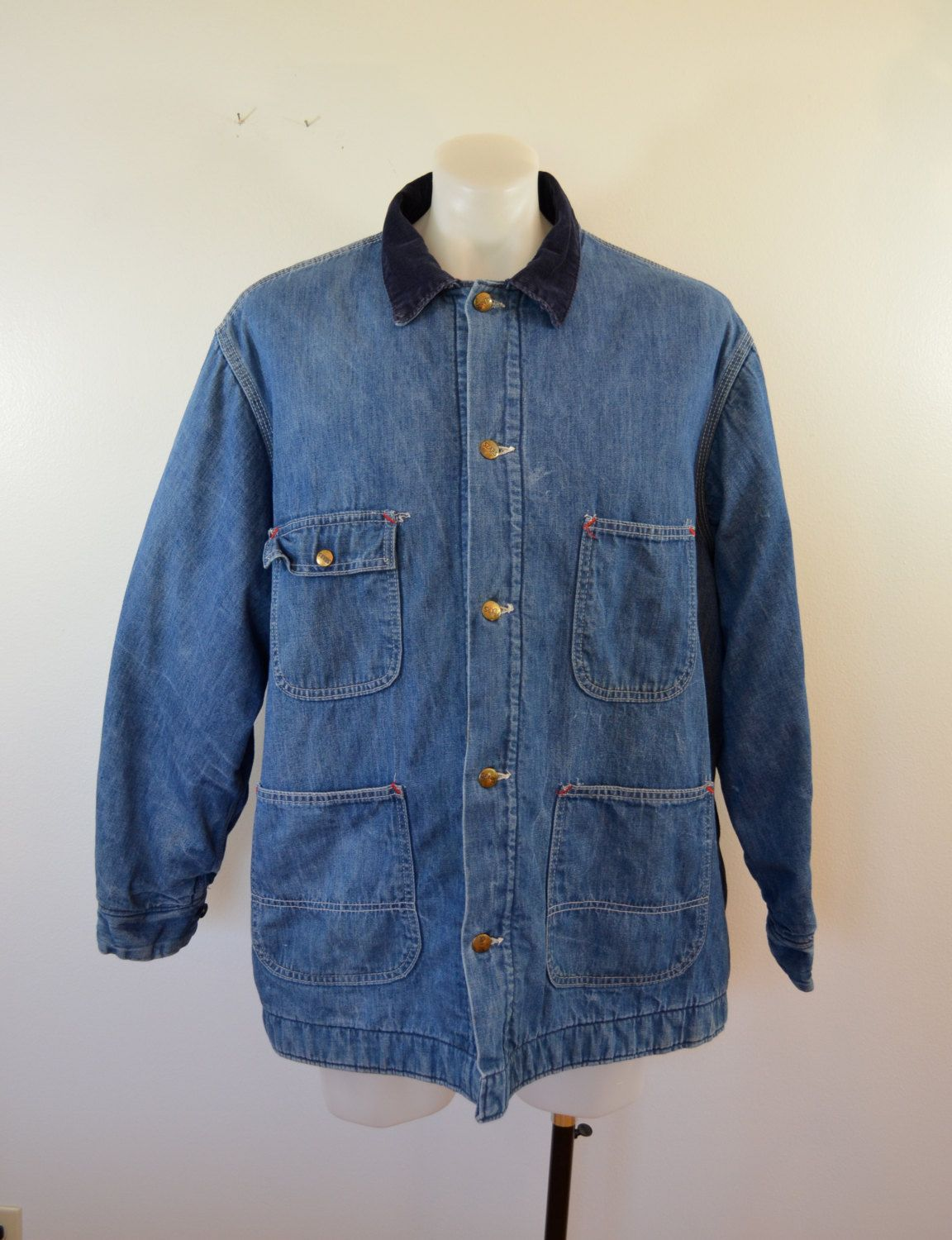 7b19eb402d0 Vintage SEARS Work N Leisure Denim chore jacket BLANKET lined made in usa  XXL by ilovevintagestuff on Etsy