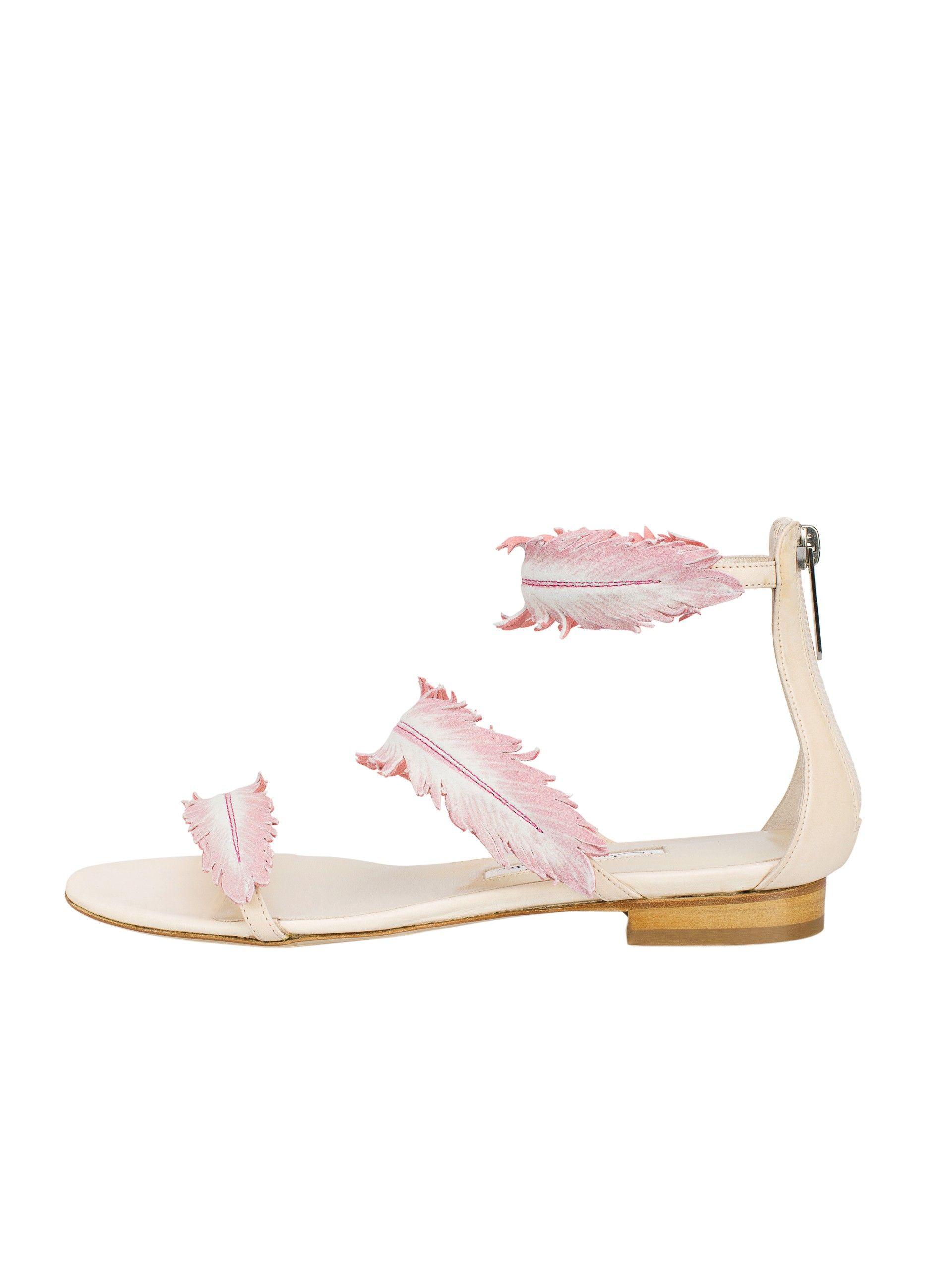 e68855bfaecb8 Oscar de la Renta - Petal Leather Abigail Feather Sandals