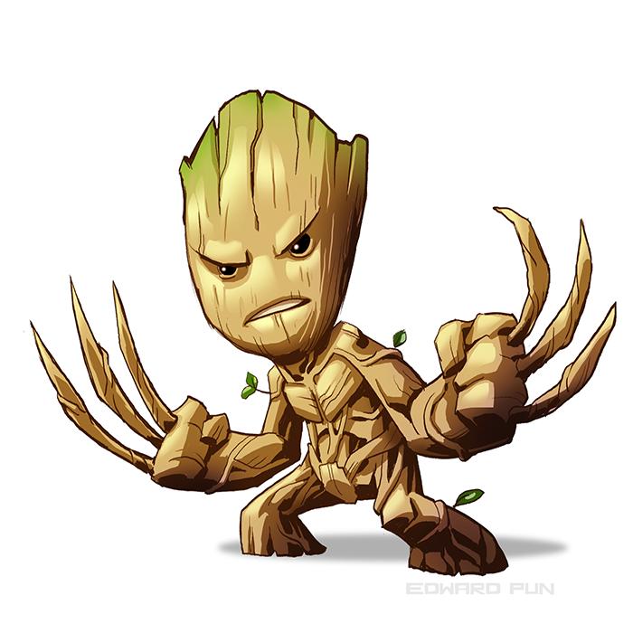 Groot Wolverine Marvel Comics Art Chibi Marvel
