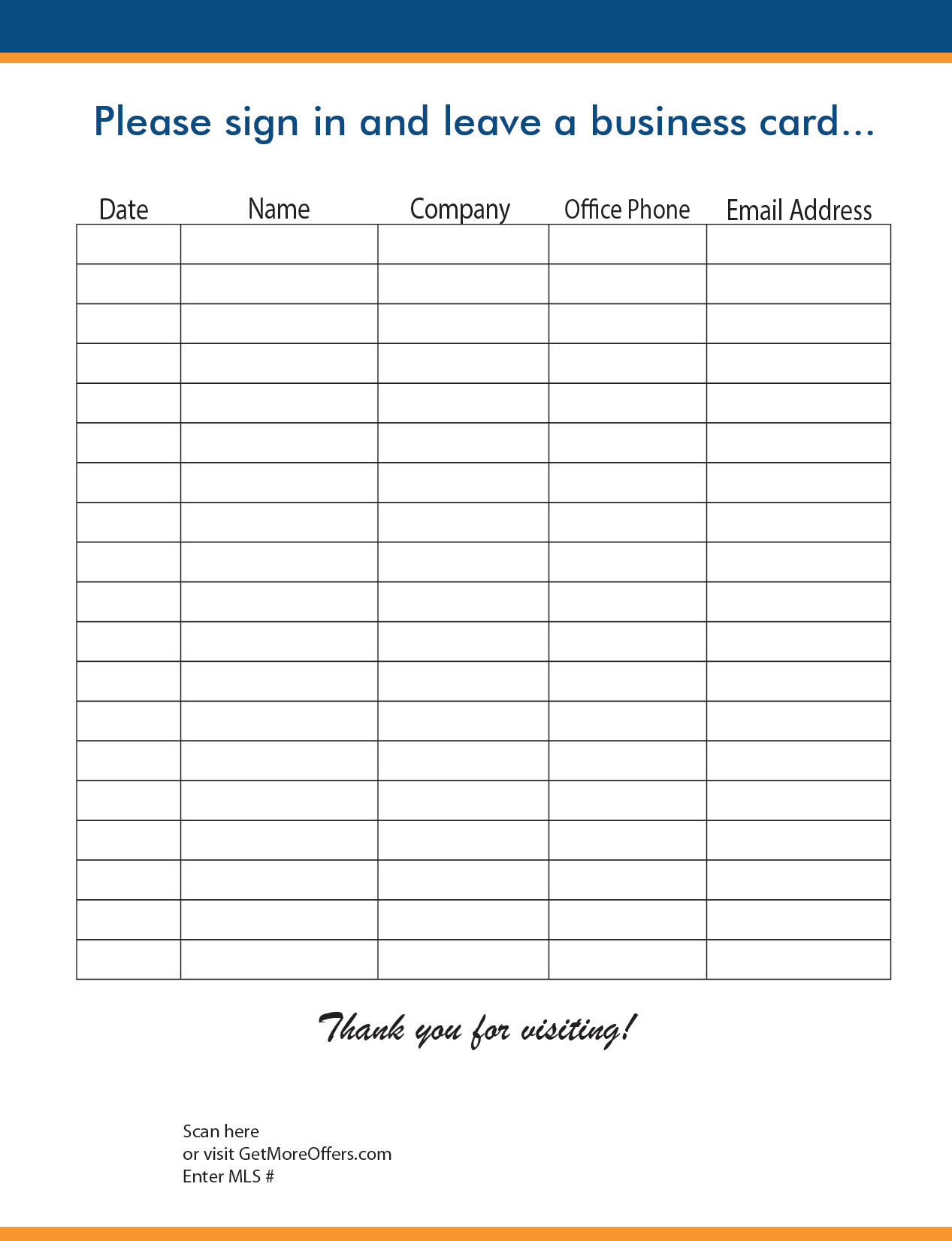 Open House Realtor Sign In Sheet Template