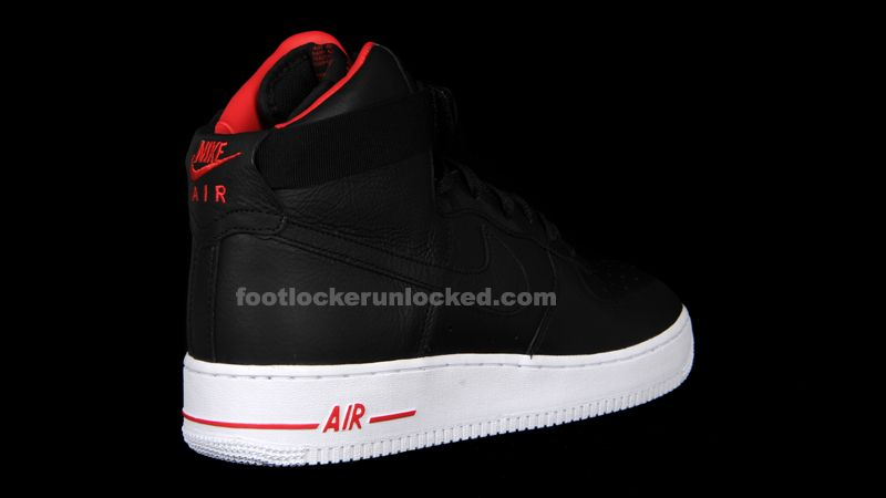 Men's Nike Air Force 1 High Premium Lebron Black White Red Sneakers : M55x6603