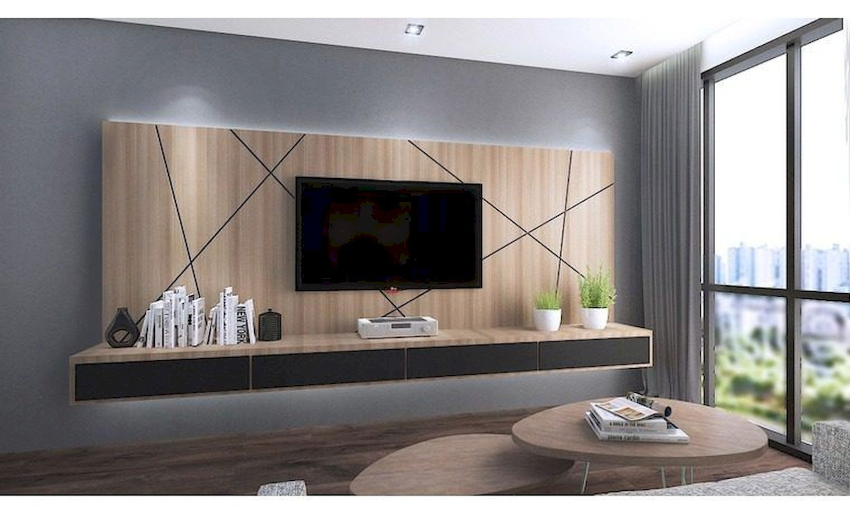 Adorable 121 Simple Cool Creative Wall Decorating Ideas That Are Easy To Apply In Your Home Https Bedroom Tv Wall Living Room Tv Wall Wall Tv Unit Design