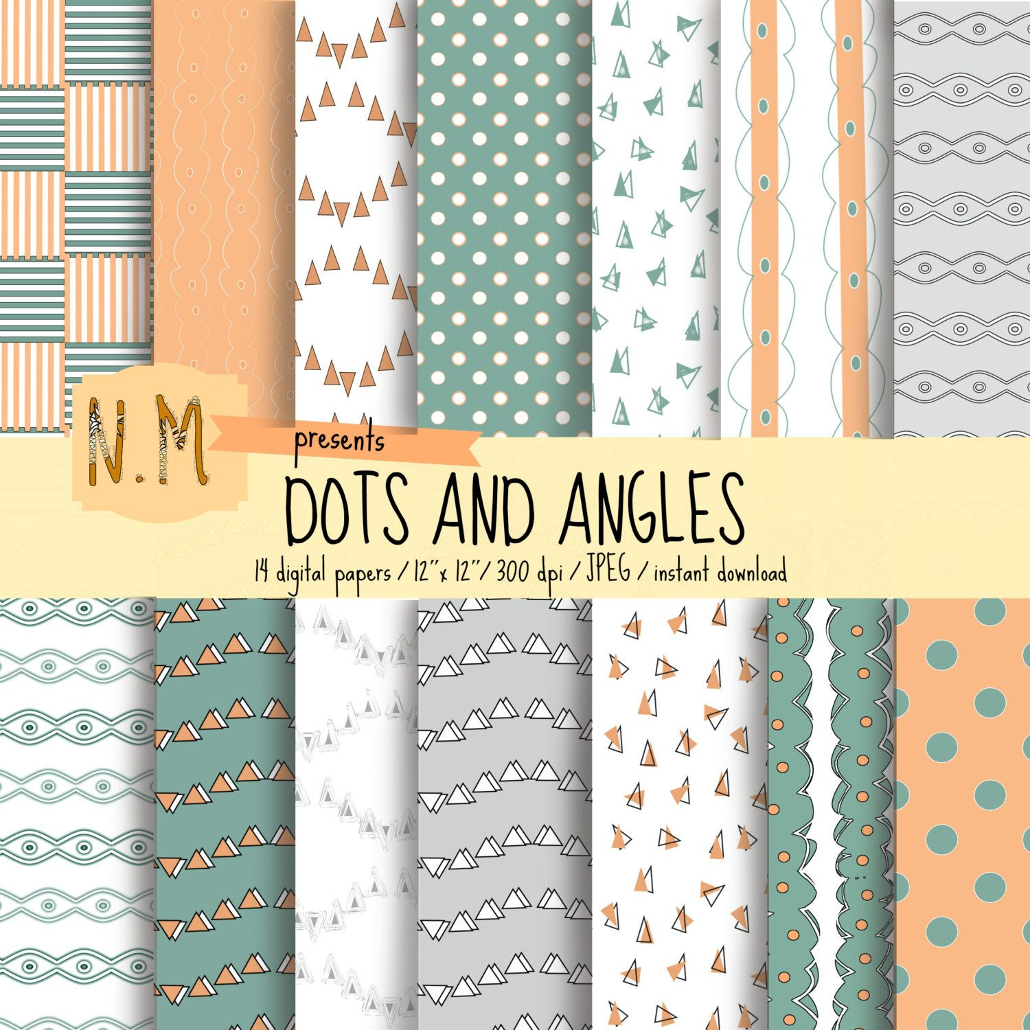 Geometric Digital Paper Pack Geometric Digital Printable Pattern With Peach White And Blue Dots Stripes A Printable Patterns Digital Paper Digital Paper Pack
