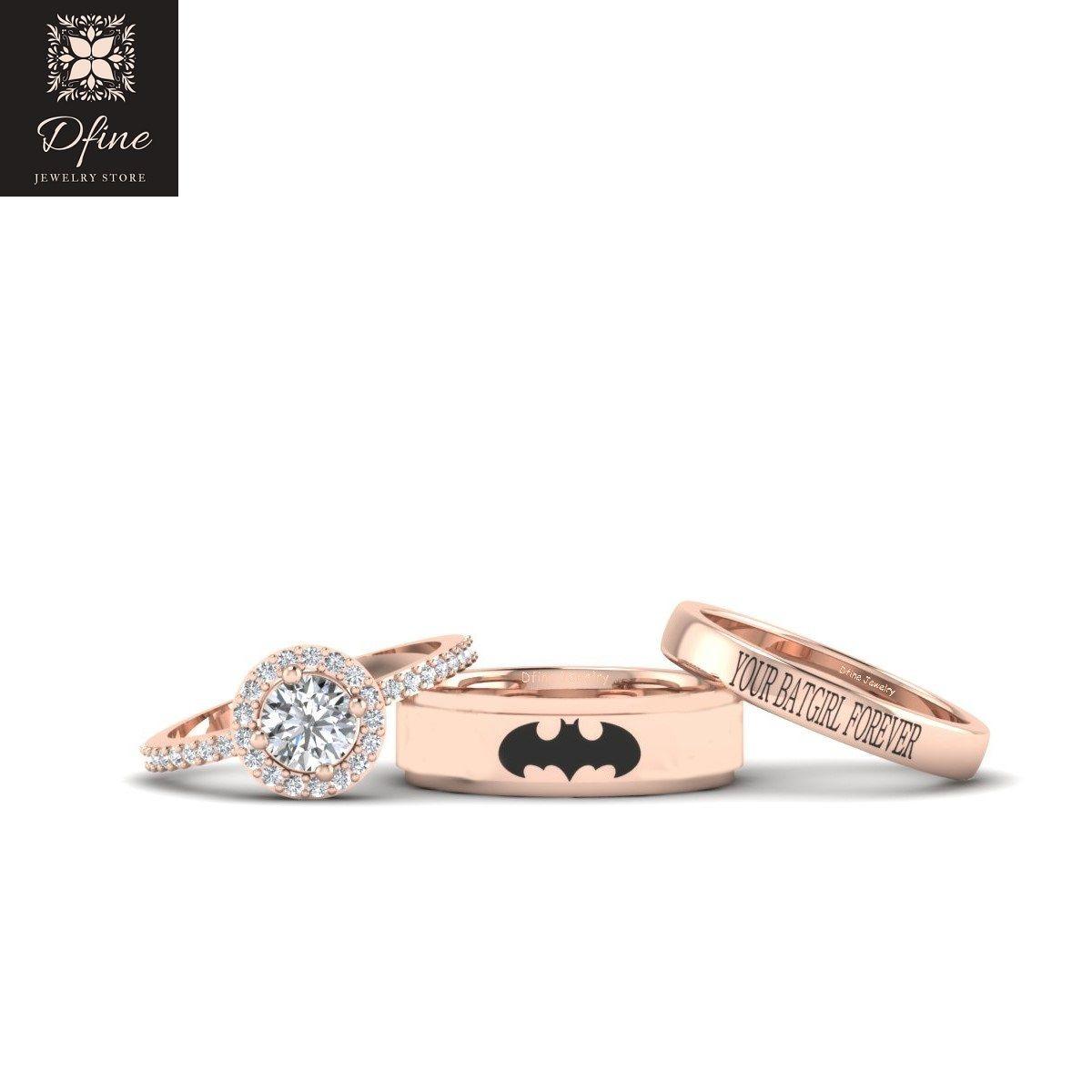 Halo Diamond Superhero Batman Wedding Ring Set Dfine Jewelry Store Blue Diamond Engagement Ring Halo Wedding Rings Sets Batman Wedding Rings