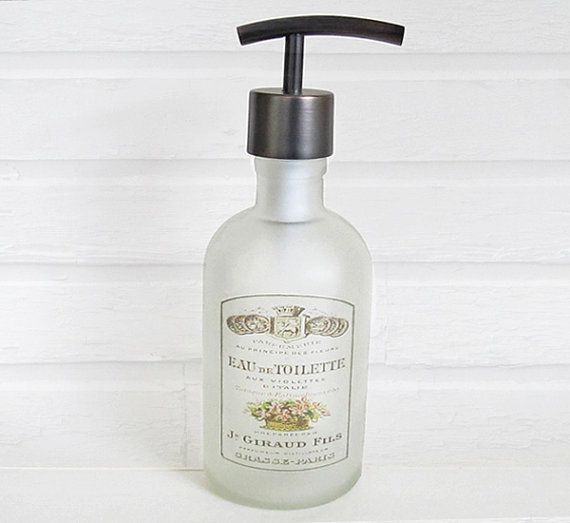 Frosted Glass Soap Dispenser French Label  Lotion by lovesoldstuff, $24.00