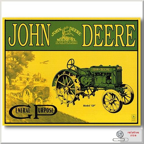 "John Deere Nothing Runs Like 16/"" Metal Tin Sign Vintage Style Farm Tractor Barn"
