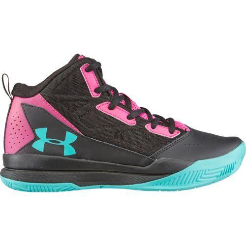 89013205869 Under Armour Girls  GGS Jet Mid Basketball Shoes (Black Medium Pink ...
