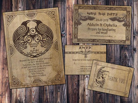 RSVP and Thank You Digital File Kit Skyrim dwarf norse printable Save the Date Norse Viking Classy Wedding Invitation