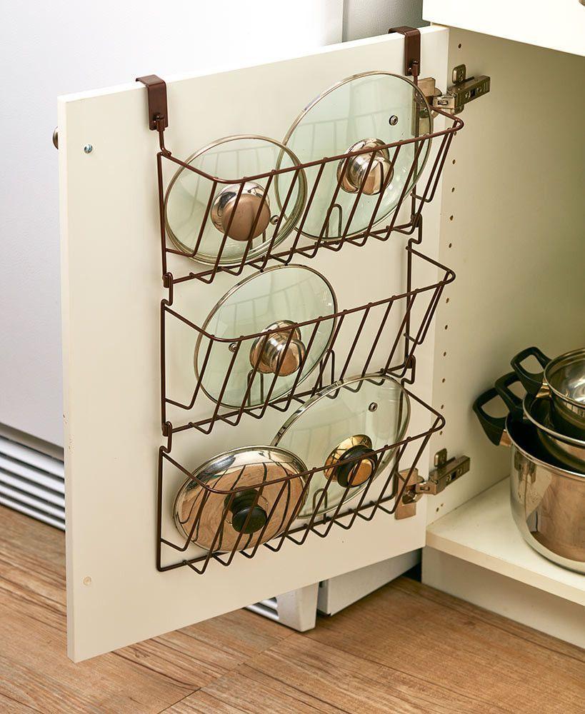Cabinet lid organizer pots containers storage over door space saver