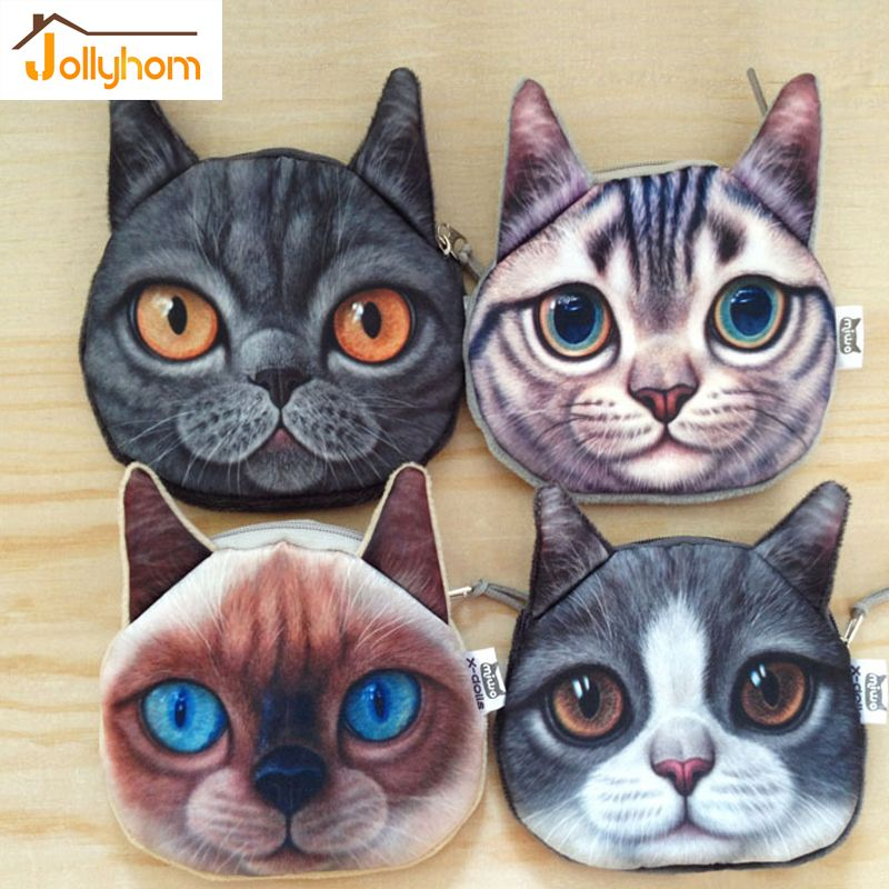 Head Meow Coin Bag With Zipper Cartoon Cat Zero Wallet Big Face Small Tail Cats