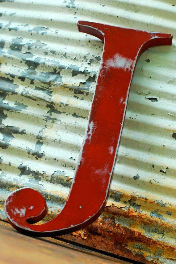 metal letter j in fire engine red photos pinterest t le lettres et jardins. Black Bedroom Furniture Sets. Home Design Ideas