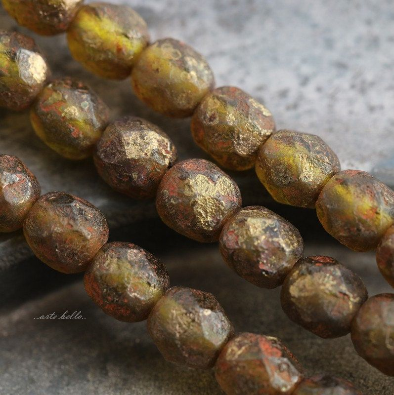 GOLDEN OLIVES No. 2 .. NEW 25 Premium Stone Picasso Czech Glass Beads 6mm (5627-st) by ArteBellaSurplus on Etsy