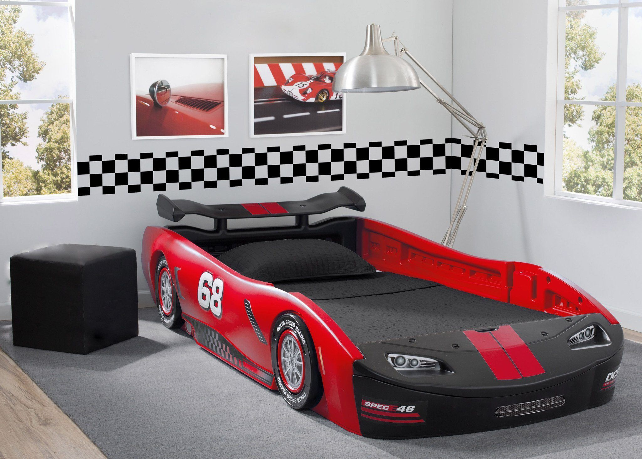 Turbo Race Car Twin Bed, Red Twin car bed, Kids car bed