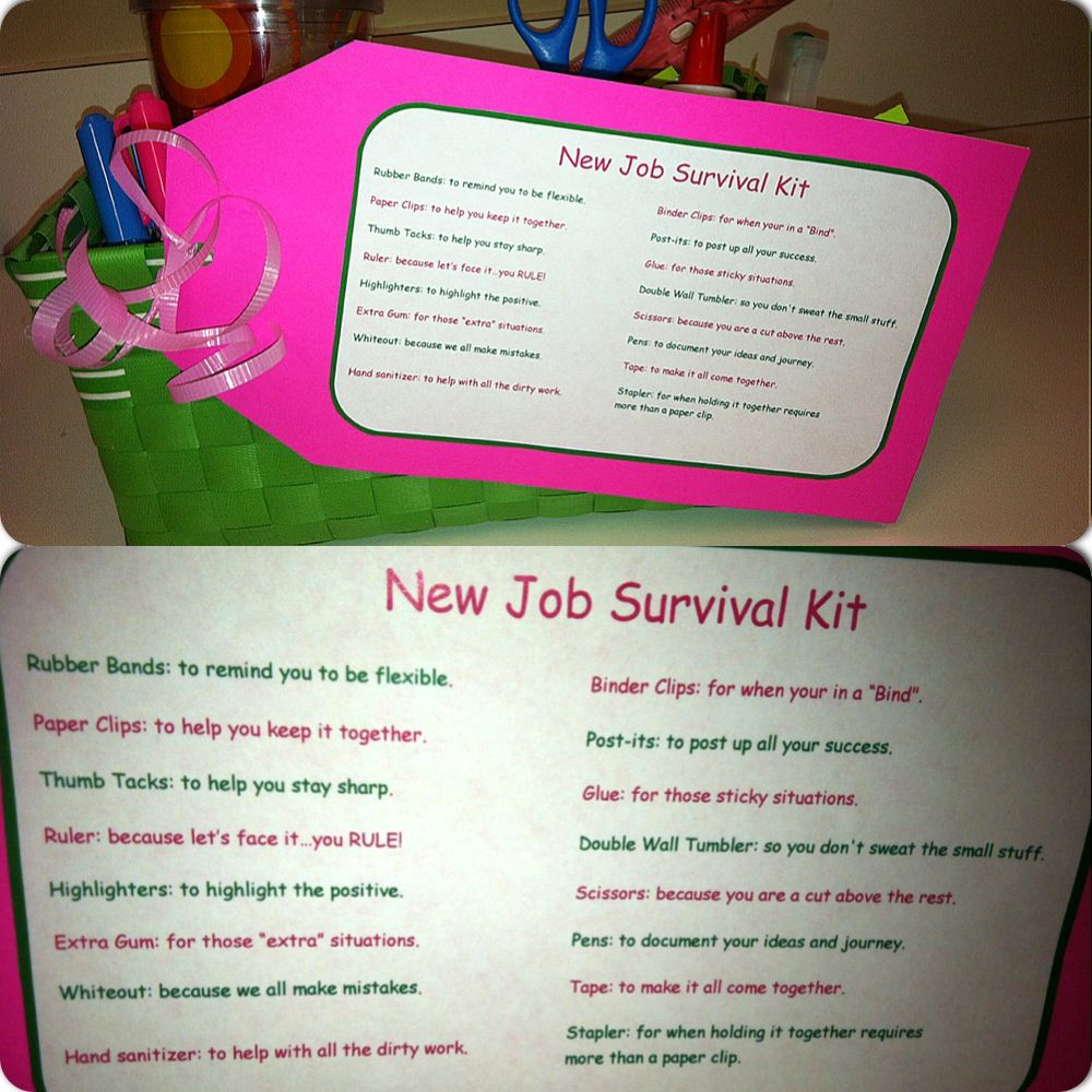 New Job Survival Kit/ Going away gift! I did a version of ...