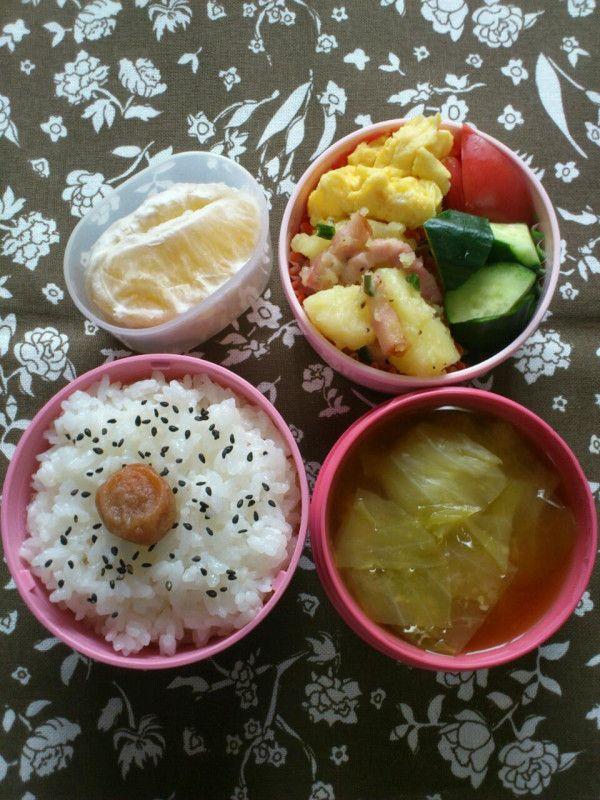 Twitter from @momo_m81546 2012年5月23日(水)、小2娘の #おべんとう は、粉ふきいもベーコン柚子こしょう風味、キャベツの味噌汁、卵焼き、胡瓜とトマト、ジューシーオレンジです。 #お弁当 #obento #obentoart
