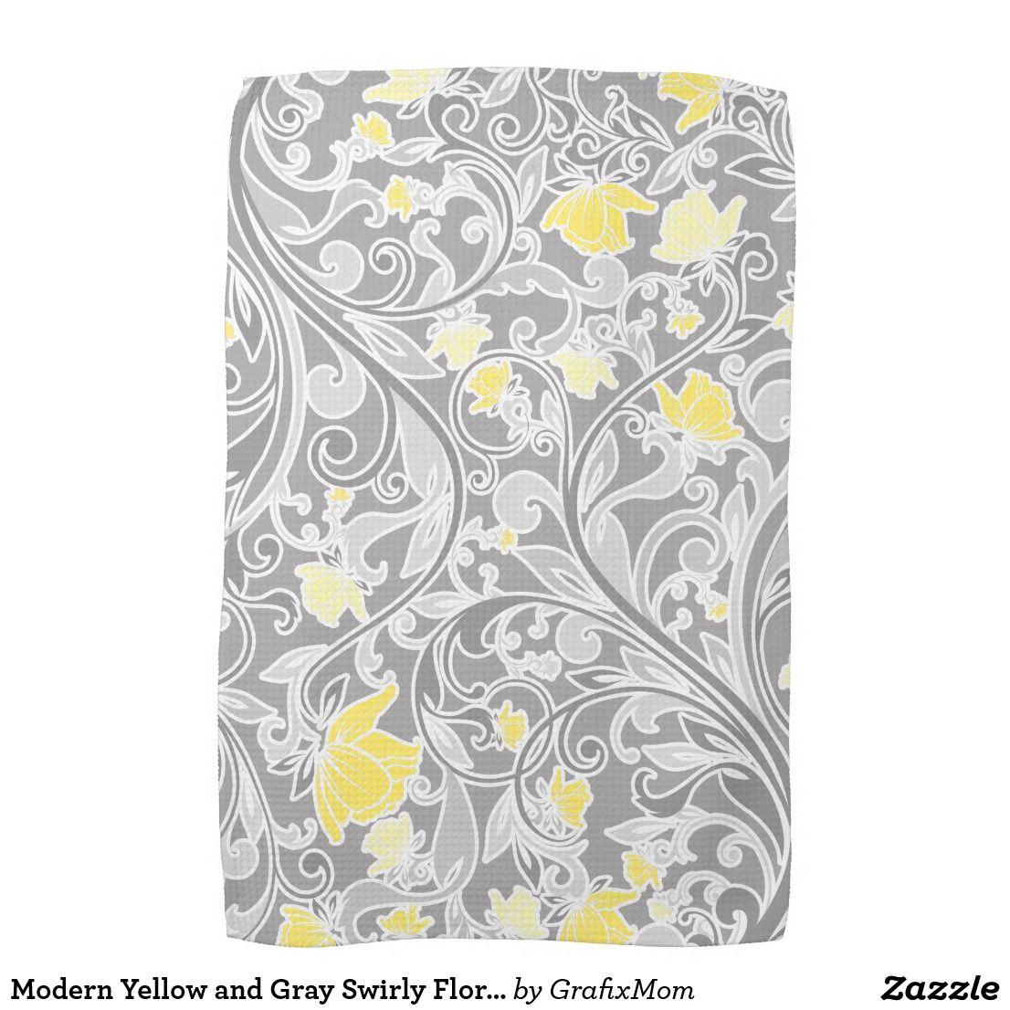Modern Yellow And Gray Swirly Floral Kitchen Towel Zazzle Com
