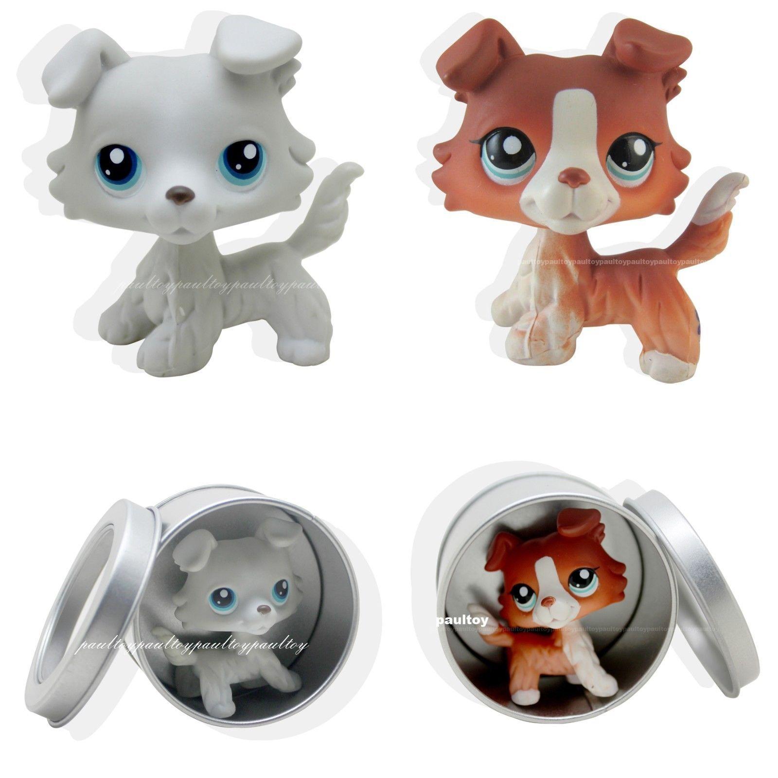 9 09 2pcs Rare Littlest Pet Shop Collie Dog Puppy Blue Eyes Lps