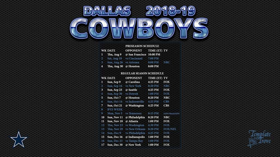 dallas cowboys 2018 and 2019 schedule opponents Yahoo