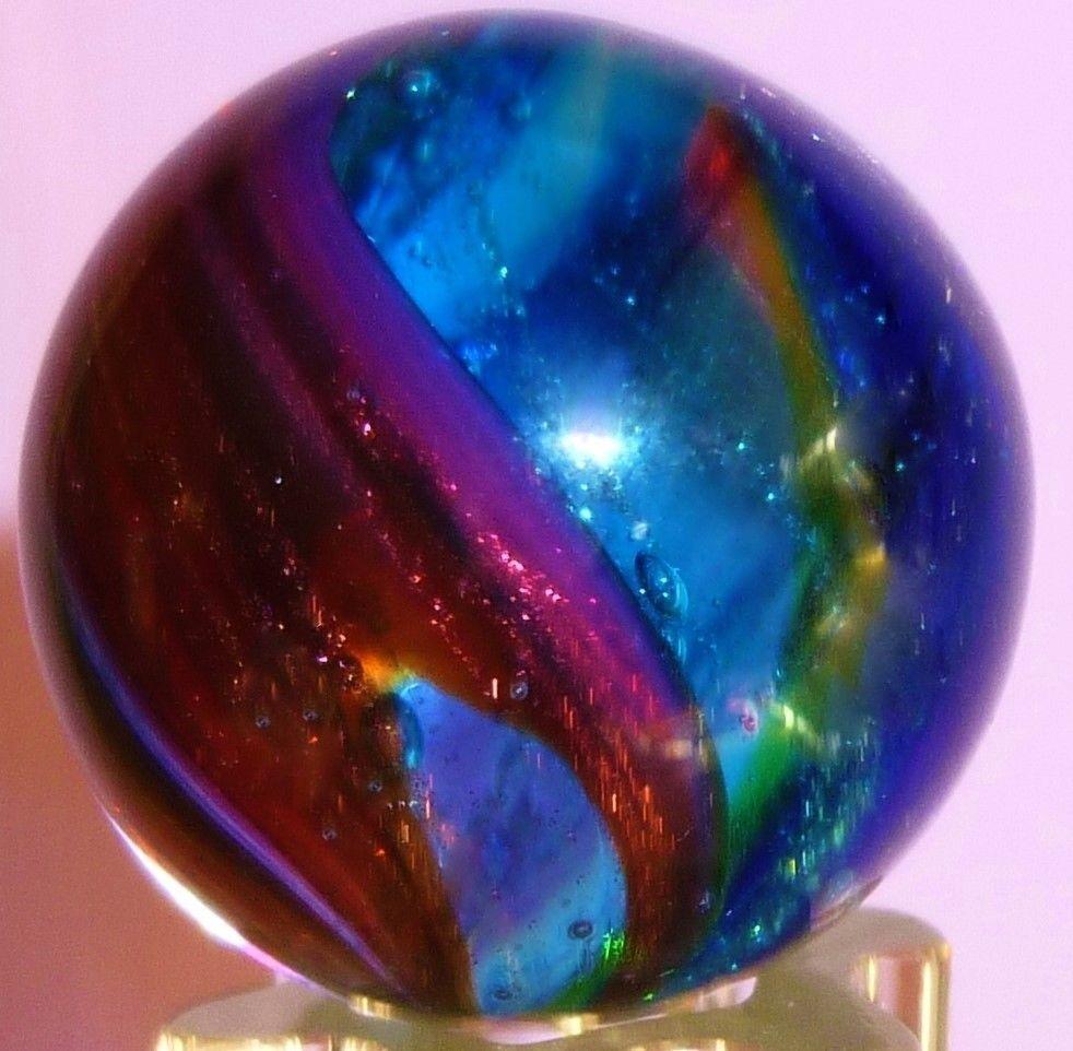 Keith baker handmade signed art glass marble hyper lutz