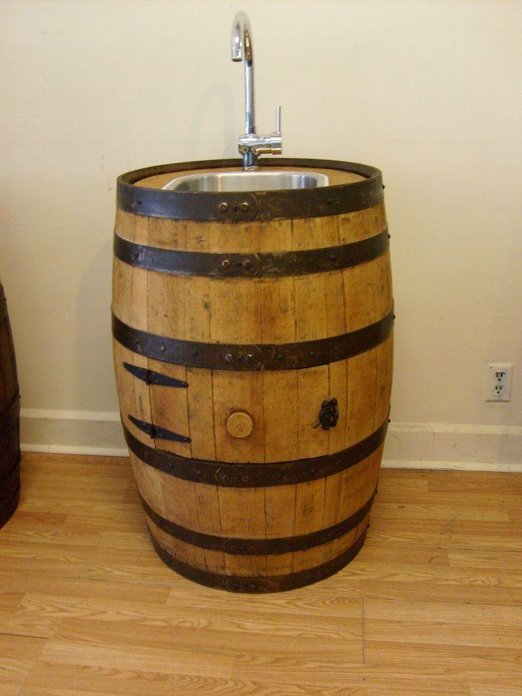 White Oak Whiskey Barrel Sink Stainless Steel Chrome Faucet Free Shipping Auntmollysbarrels