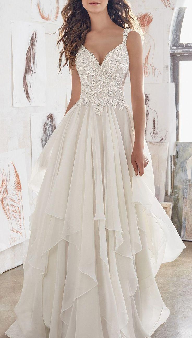 Einzigartiges V-Ausschnitt Brautkleid Doppelte Schulter mit A-Linie Brautkleid aus Spitze – Dress Shop