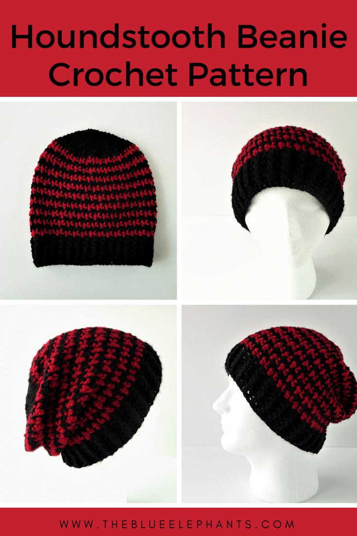 Houndstooth Beanie FREE Crochet Pattern   Pinterest