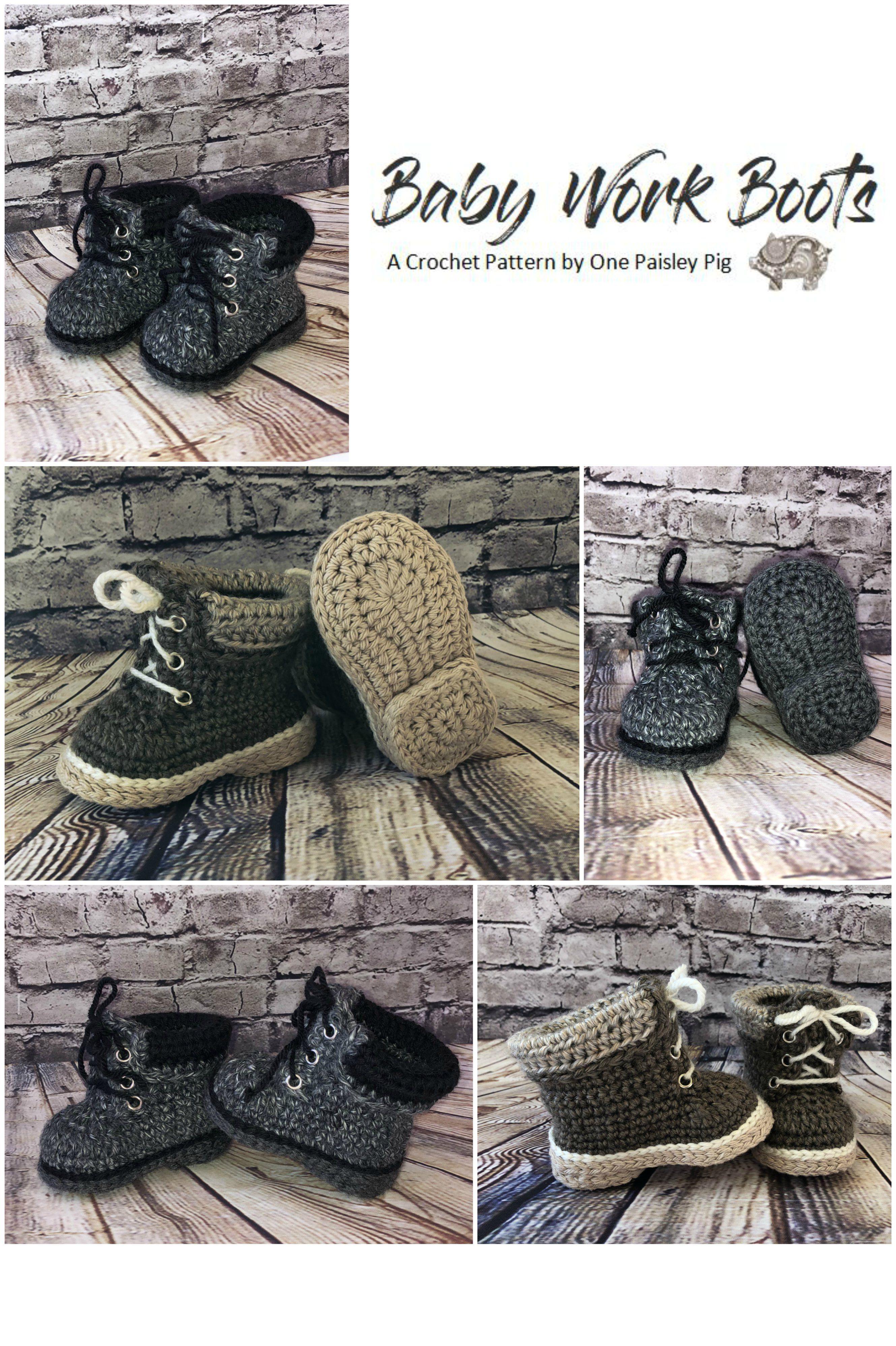 d2a34d854be7f Baby Work Boots - PDF CROCHET PATTERN   Crochet   Crochet baby boots ...