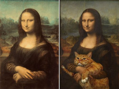 モナ・リザにネコを追加    (via Famous Paintings Improved by Cats)