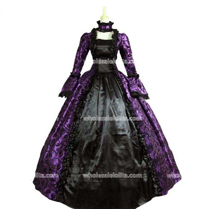 Purple Georgian Victorian Gothic Period Dress Masquerade Ball Gown ...