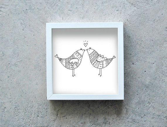 Birds kissing art print, love print, two birds poster, black and white illustration, art love