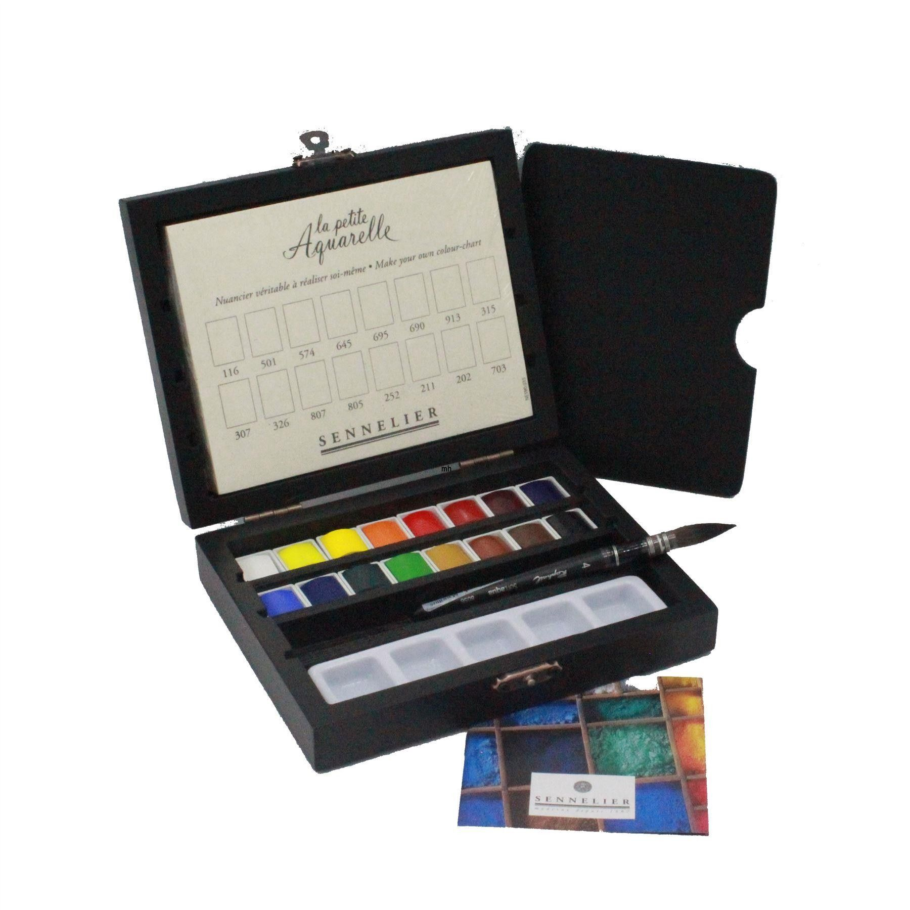 Sennelier La Petite Aquarelle Watercolour Paint Black Wood Box 1 2